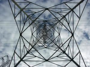 Electric power tower. Intérieur d'un pylône électrique à haute tension.